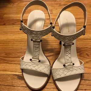 Bottega Veneta ivory leather high heeled sandals